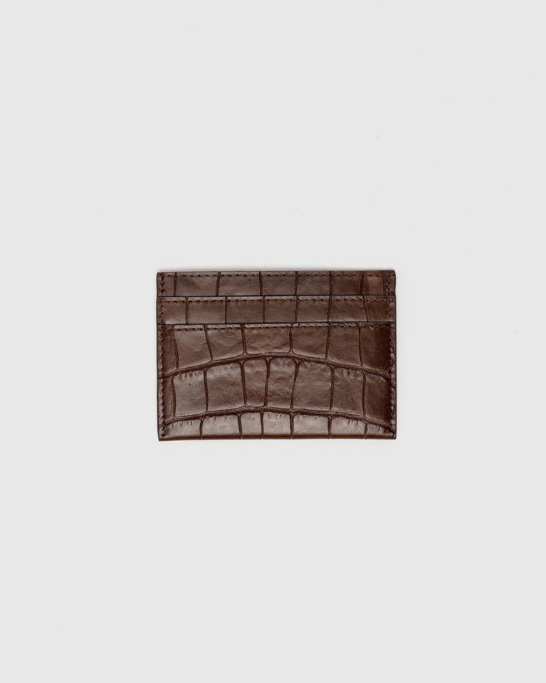 Croc Embossed Cardholder in Brown