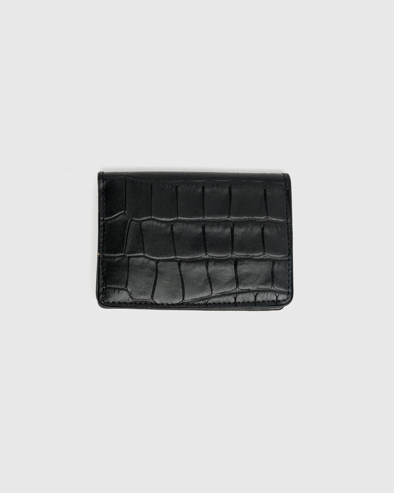 Croc Embossed Bifold Wallet in Black