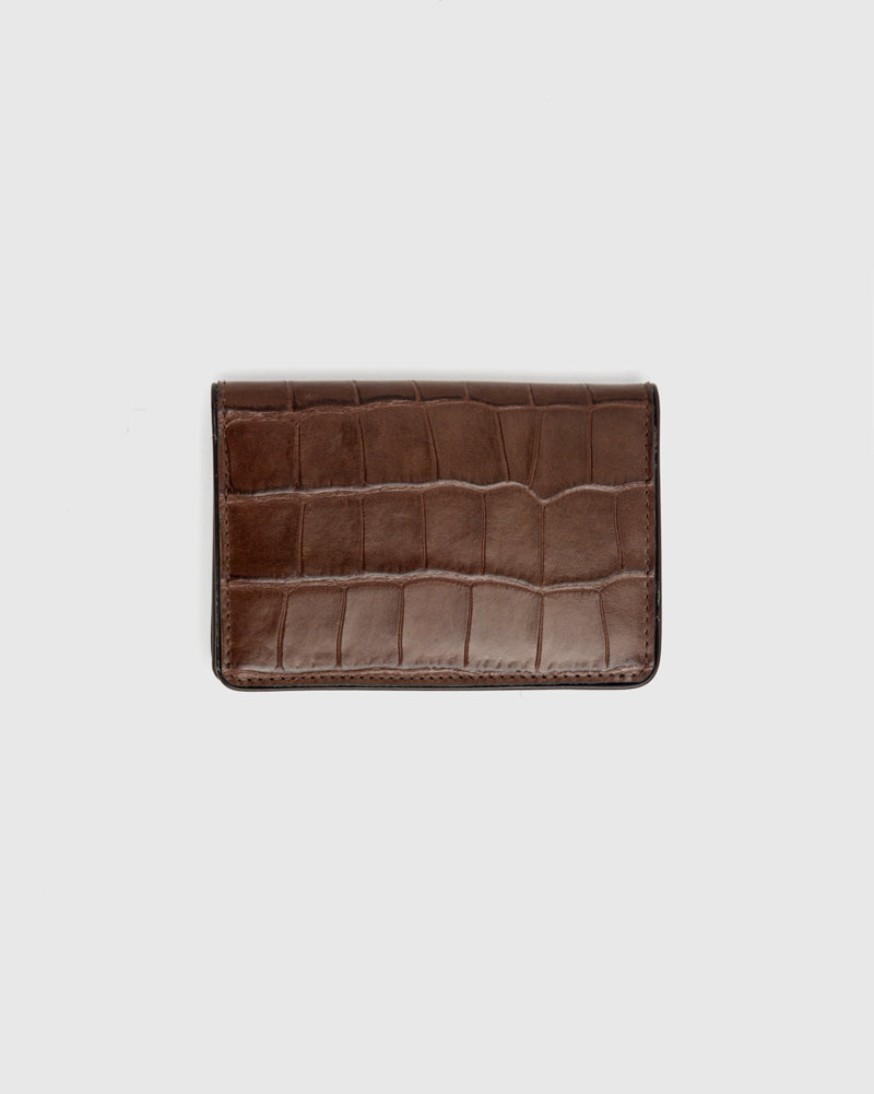 Croc Embossed Bifold Wallet in Brown by Dries Van Noten Man at Mohawk General Store