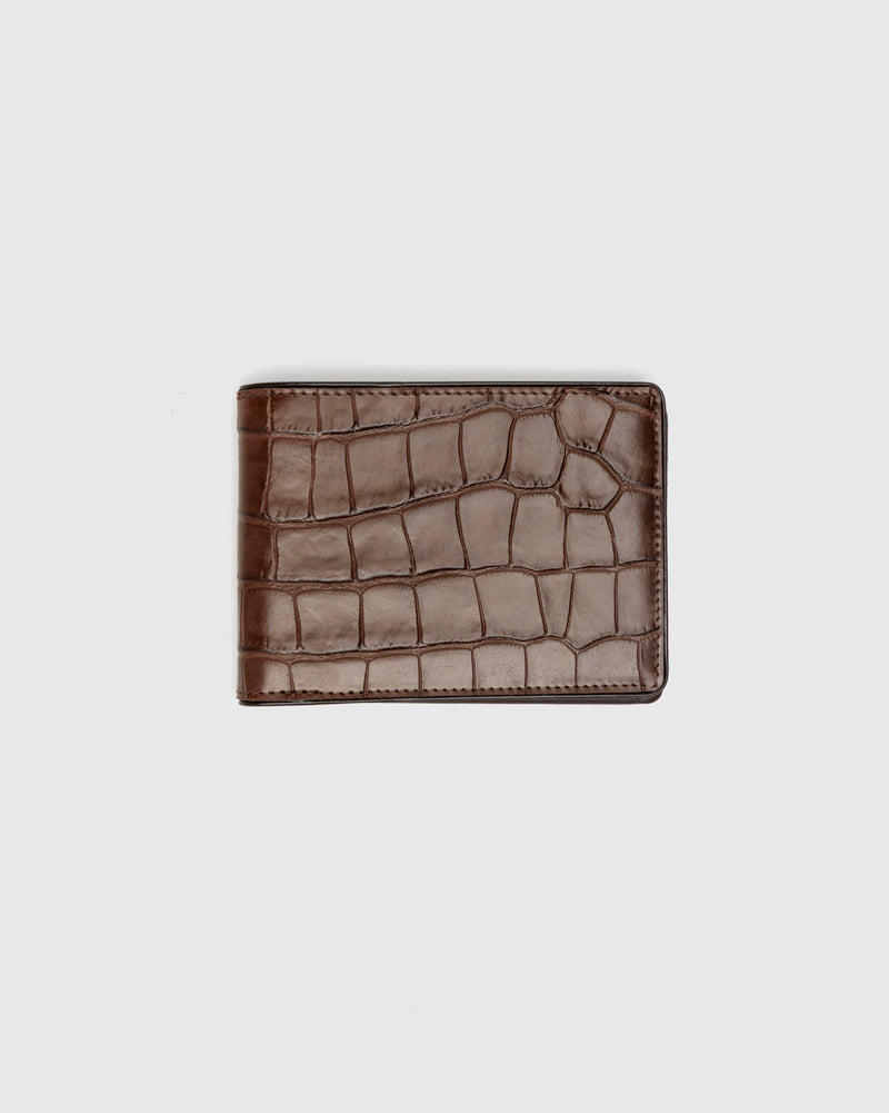 Croc Embossed Classic Wallet in Brown by Dries Van Noten Man at Mohawk General Store