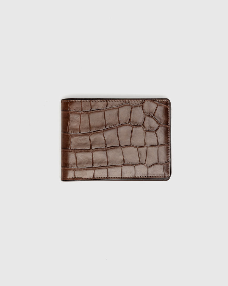 Croc Embossed Classic Wallet in Brown