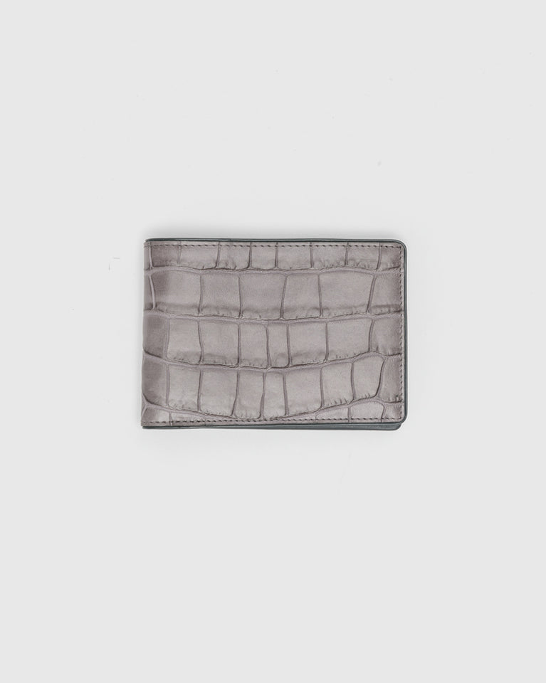 Croc Embossed Classic Wallet in Grey