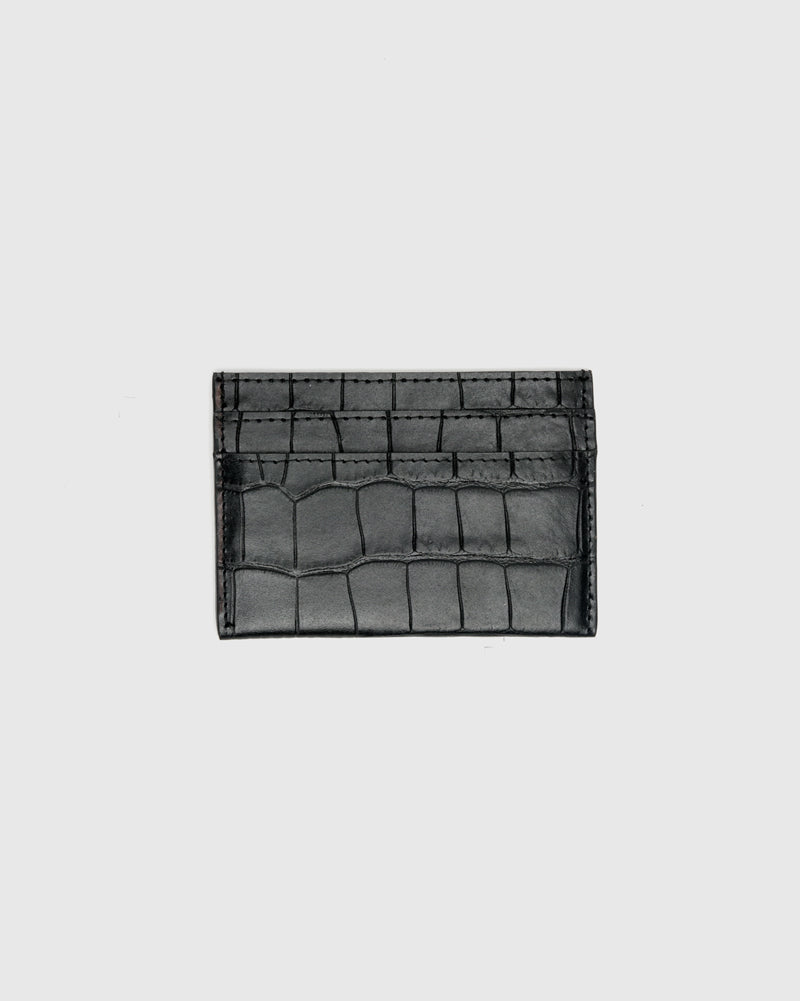 Croc Embossed Cardholder in Black by Dries Van Noten Man at Mohawk General Store