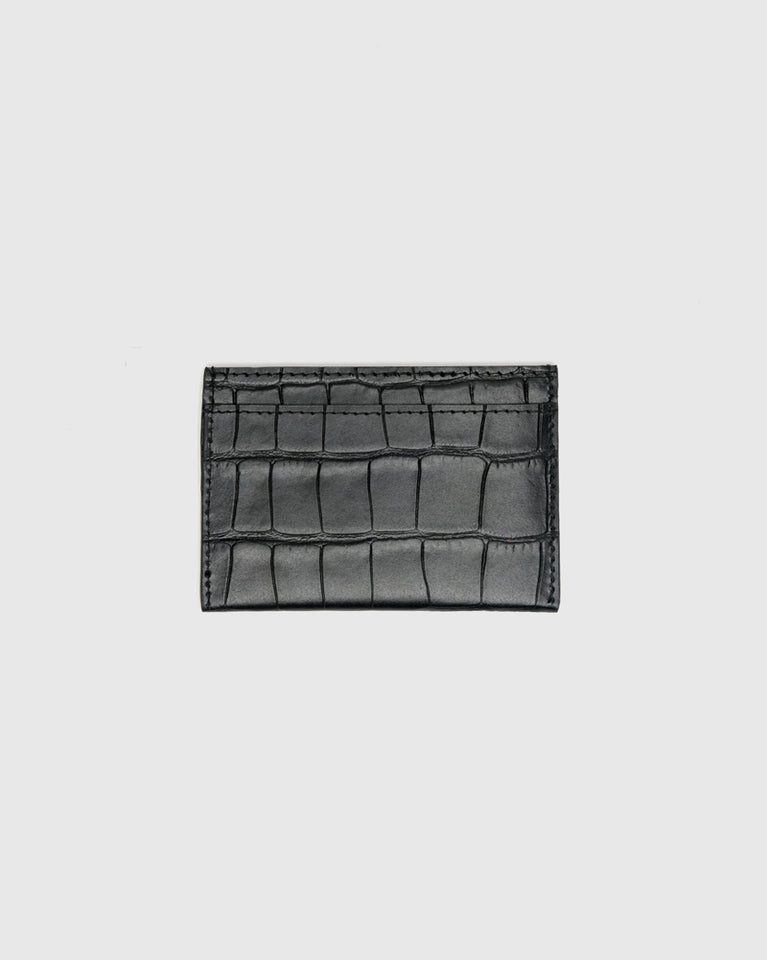 Croc Embossed Cardholder in Black