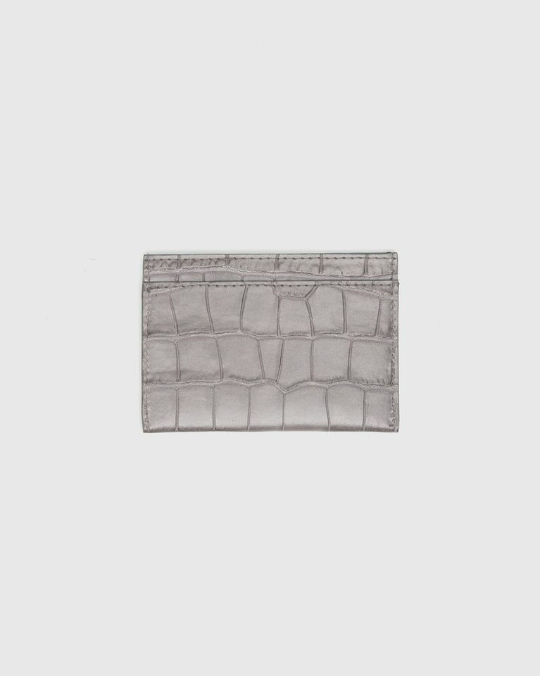 Croc Embossed Cardholder in Grey