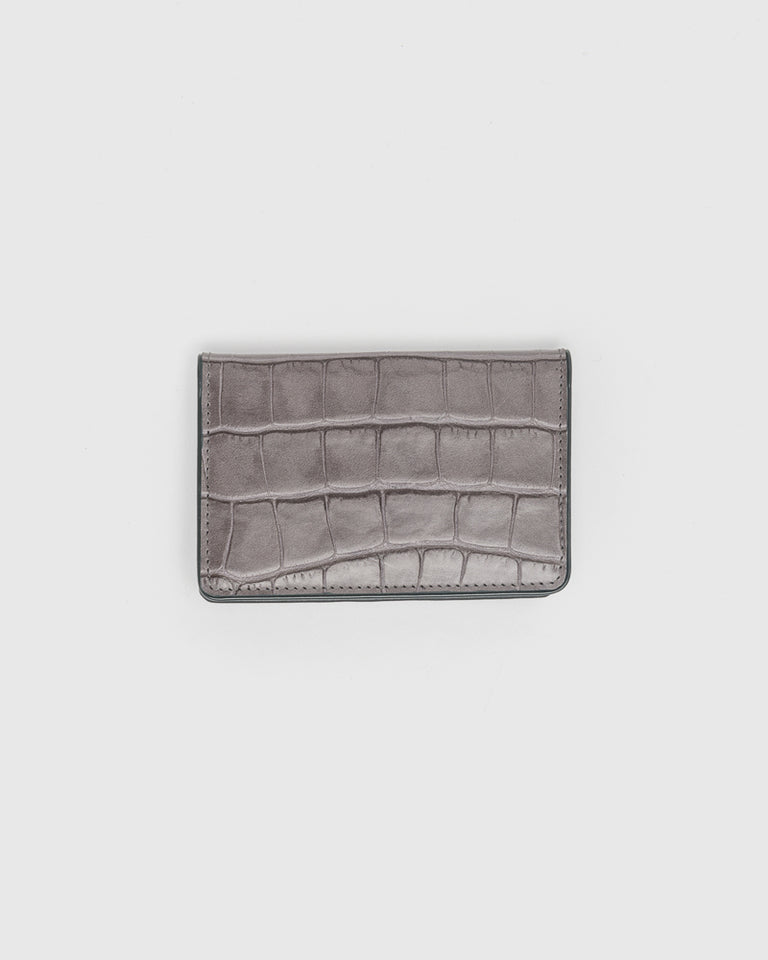 Croc Embossed Bifold Wallet in Grey