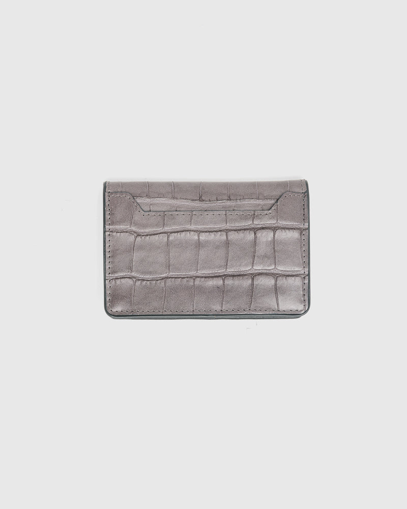 Croc Embossed Bifold Wallet in Grey by Dries Van Noten Man at Mohawk General Store
