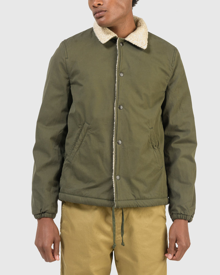 Sherpa Lined Warm Up Jacket in Olive