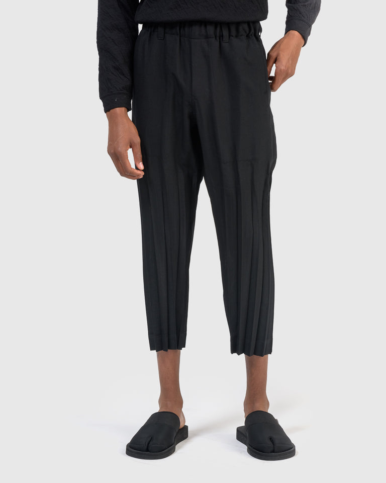 Chambray Wrinkle Trouser in Black