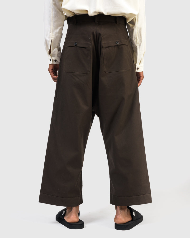 Wide Fit Trousers in Moss Green