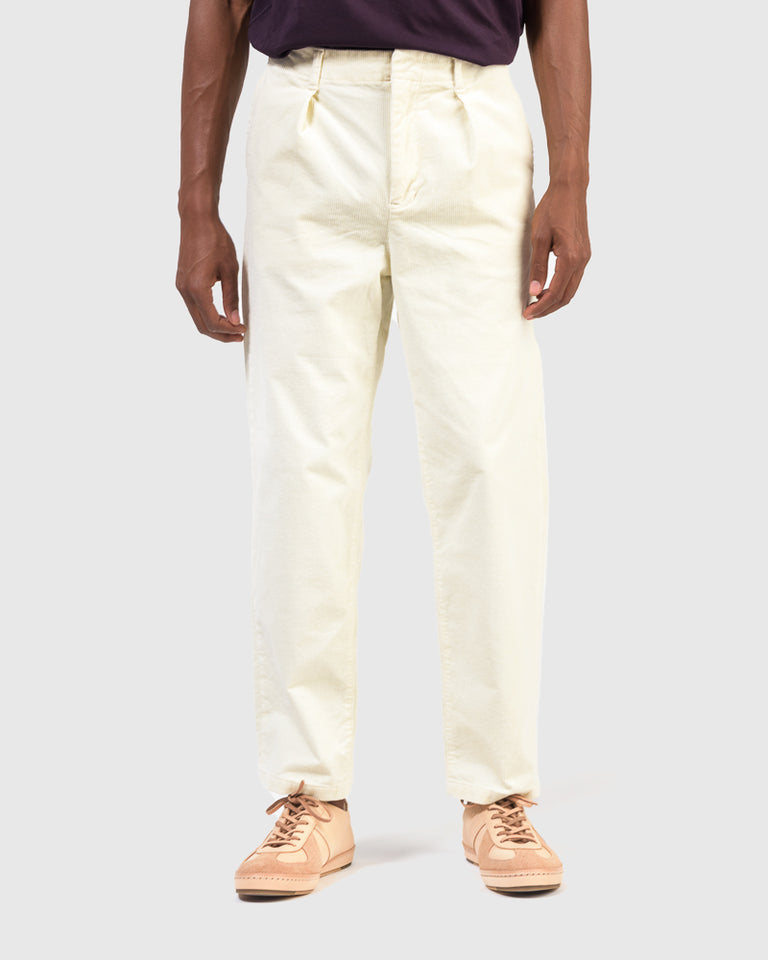In-Tuck Corduroy Pants in Off White