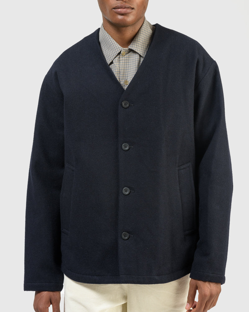V-Neck Melton Blouson in Navy
