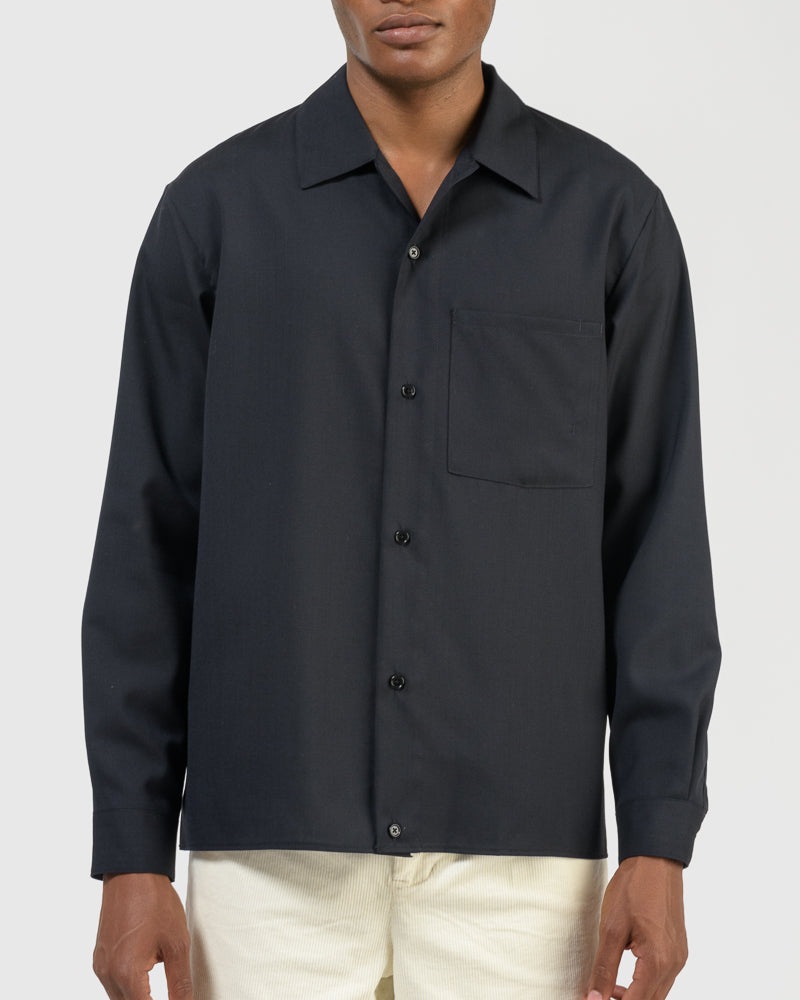 Washable Wool Shirt in Navy