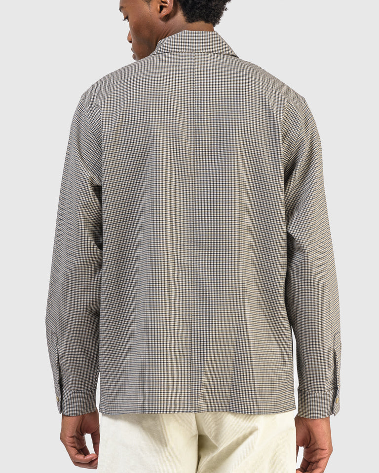 Washable Wool Shirt in Beige Check