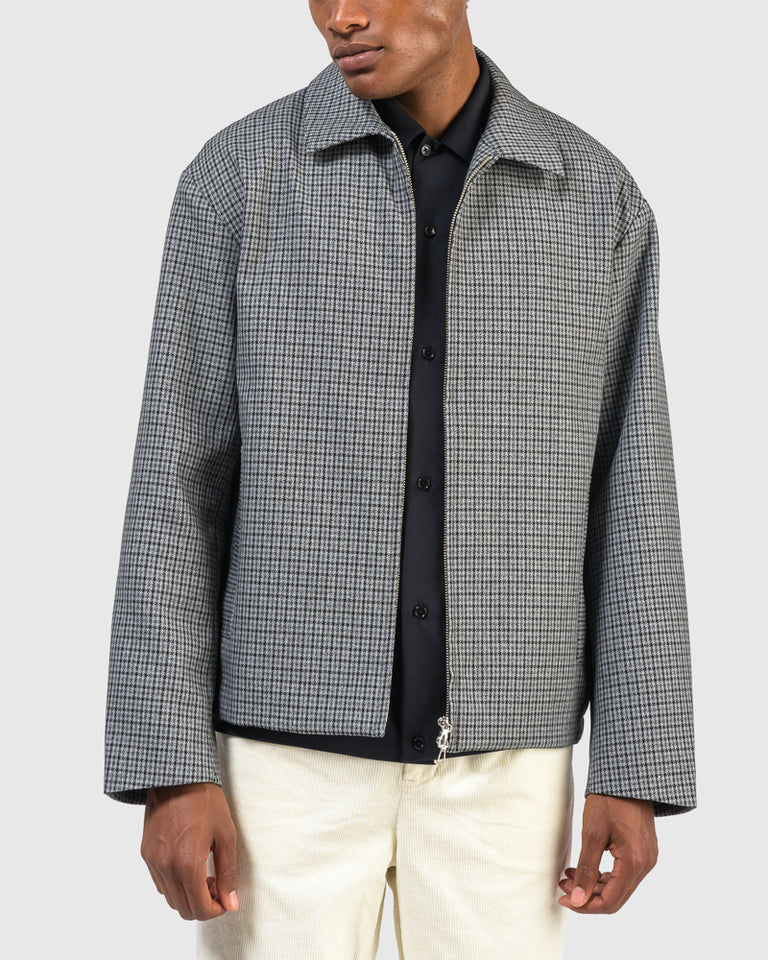 Zip Up Blouson in Grey Check
