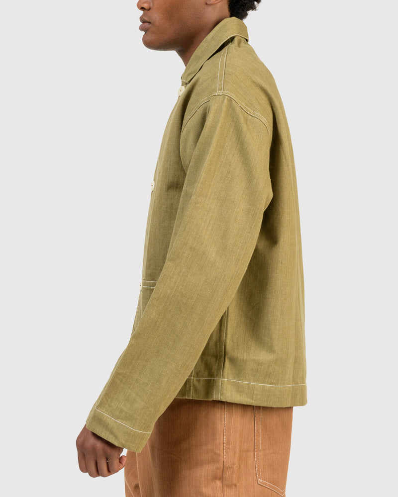 Short On Time Jacket in Khaki Green Selvedge Denim