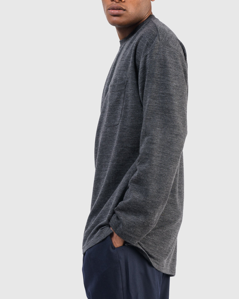 Long Sleeve Crew Neck Shirt in Charcoal