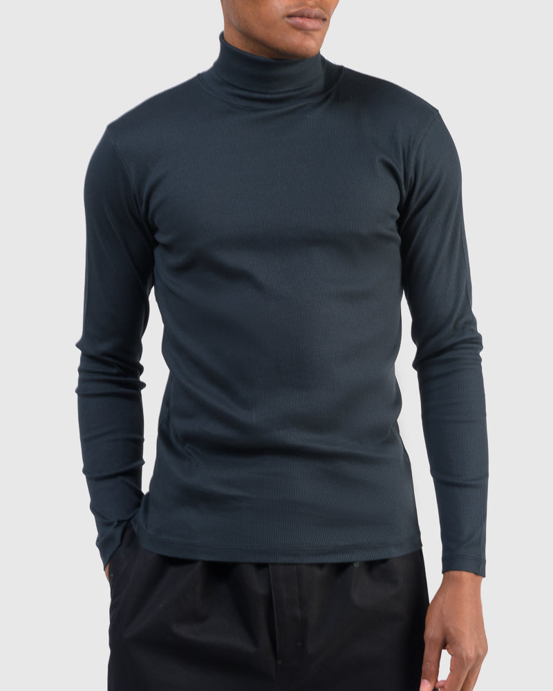 Turtle Neck Top in Midnight Blue