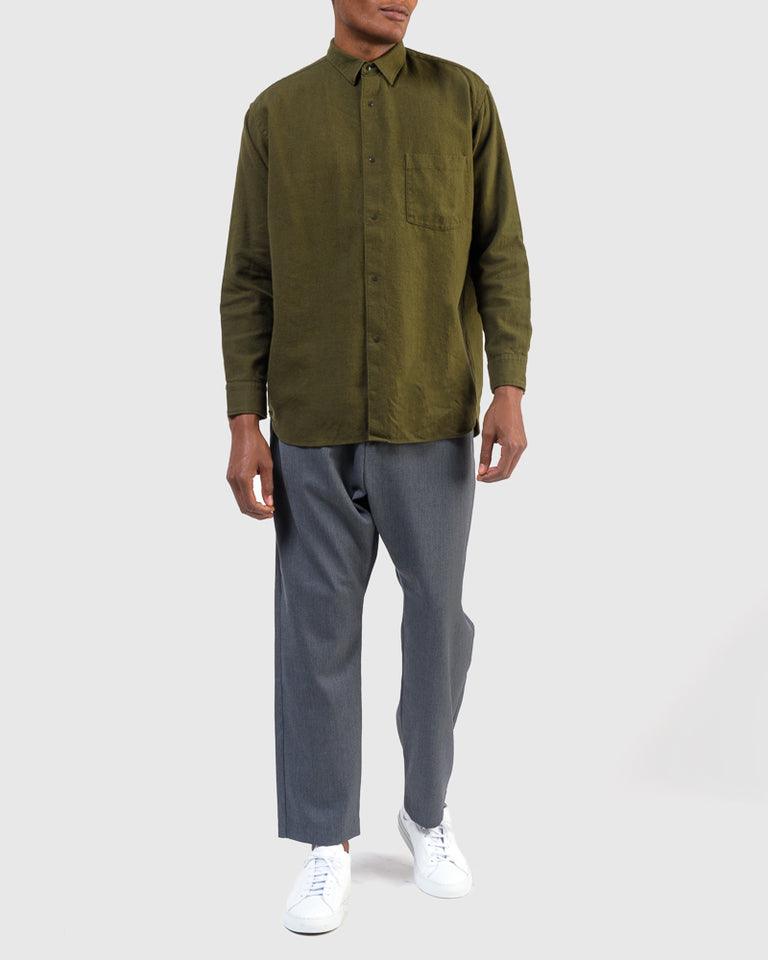 Brushed Cotton Wide Body Shirt in Army