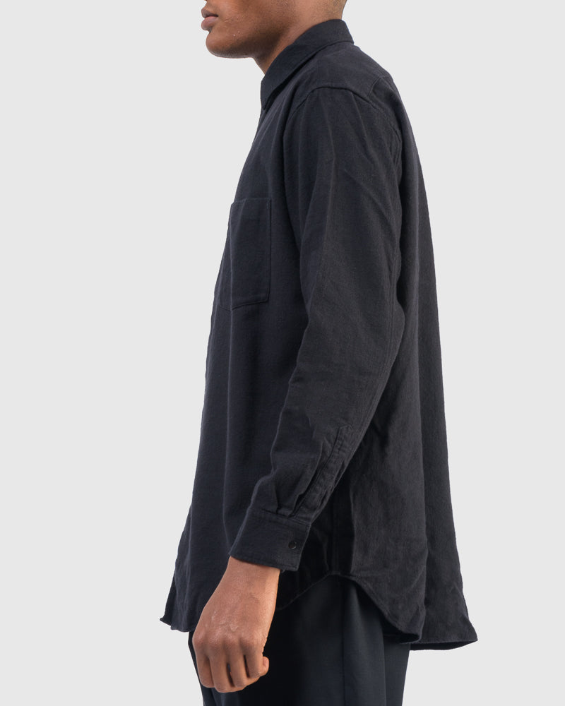 Brushed Cotton Wide Body Shirt in Black