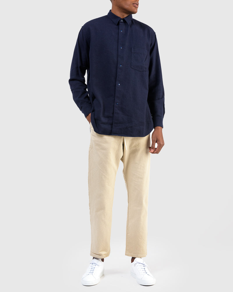 Brushed Cotton Wide Body Shirt in Navy