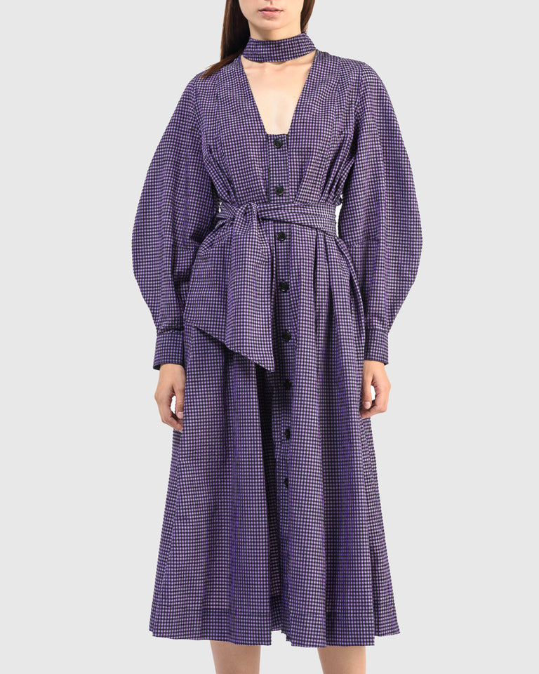 Seersucker Check Dress in Deep Lavender