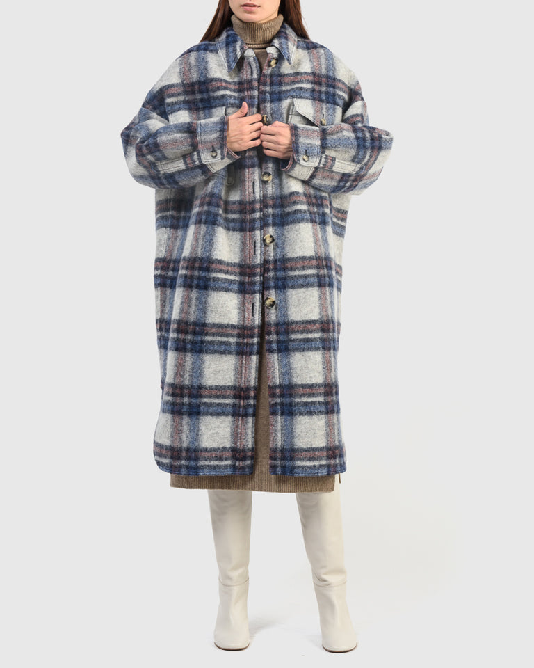 Gabrion Coat in Ecru/Blue
