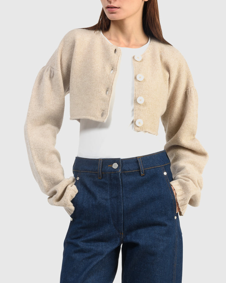 Short Cardigan in Oatmeal
