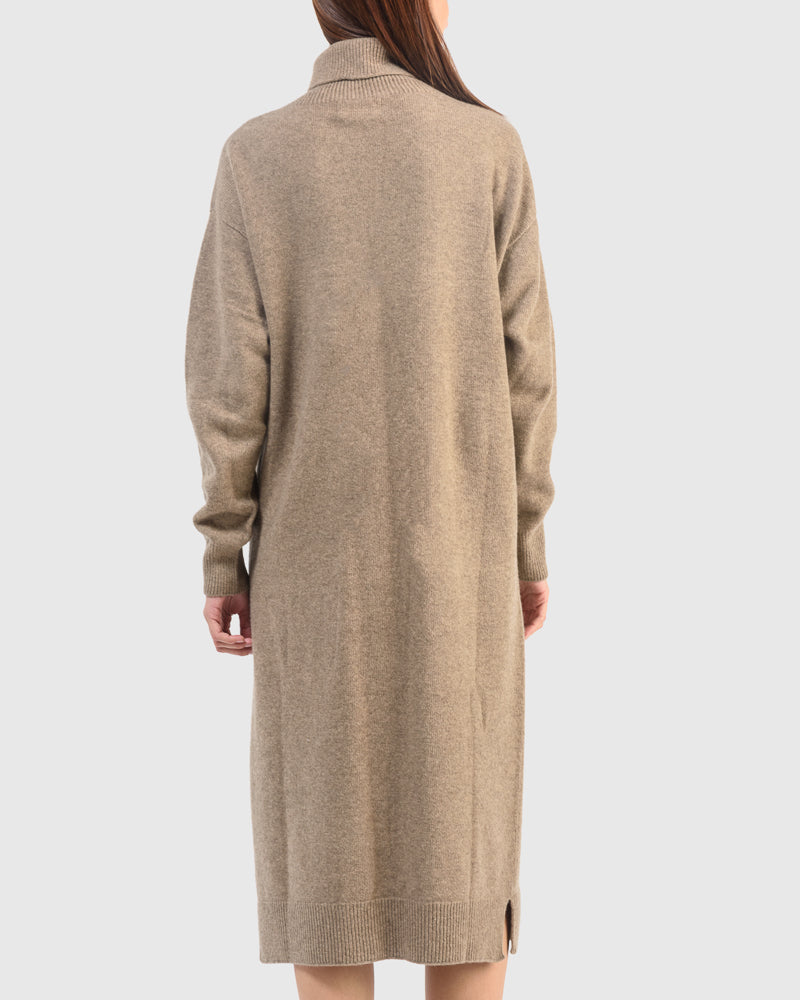 Wholegarment Turtle Neck Knit Dress in Dark Beige