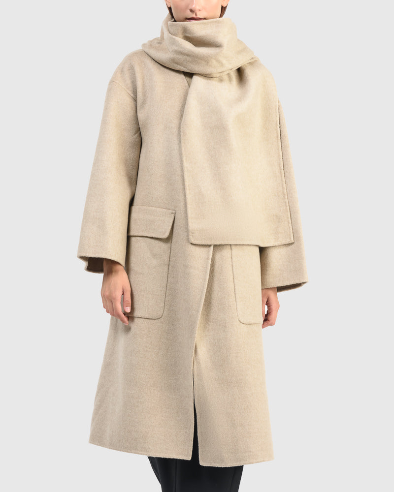 Wool Blend Handmade Coat With Scarf in Taupe