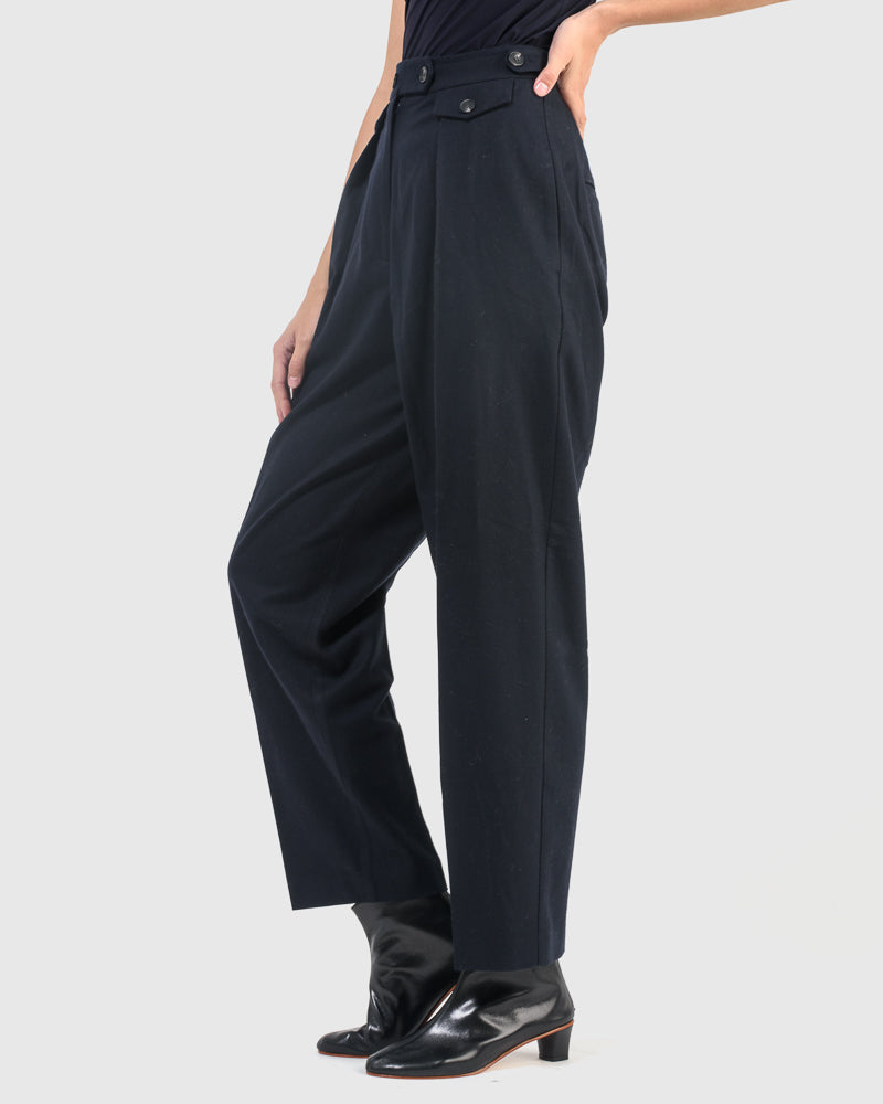 Wool Blend Pleat Trousers in Navy