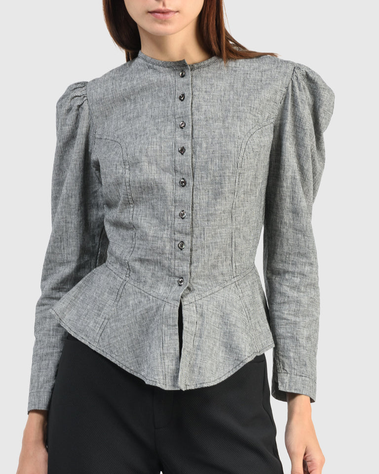 Rosa Blouse in Onyx Houndstooth