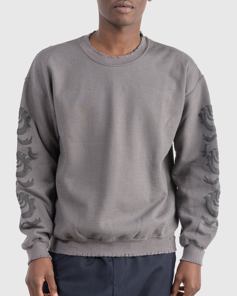 Oriental Orb Print Sweatshirt in Charcoal Grey