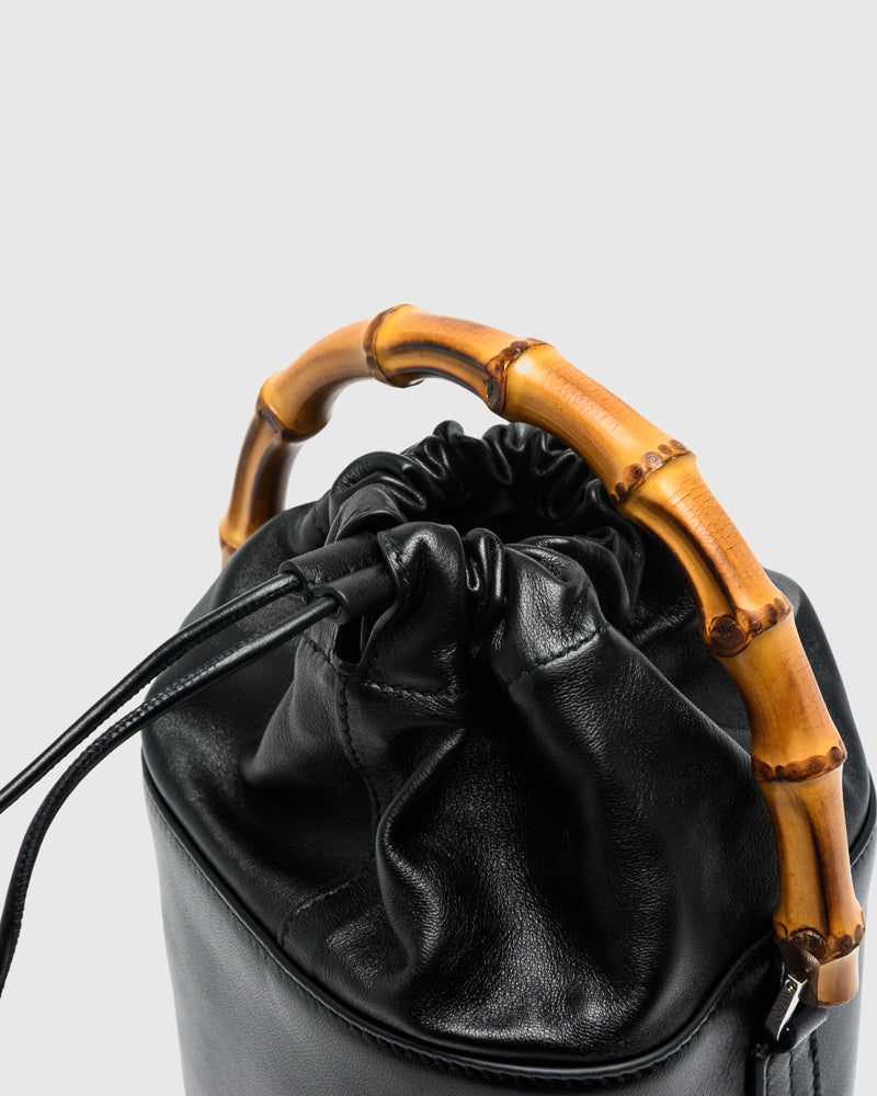 Soft Bucket Bamboo Bag in Black