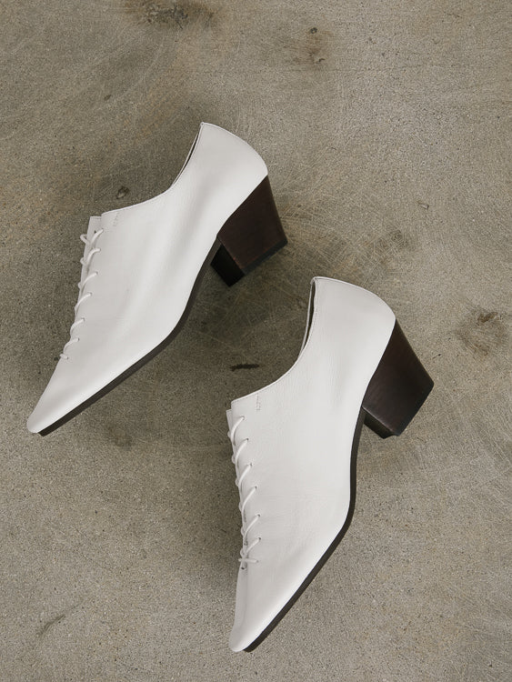 Heeled Derbies in Clay White