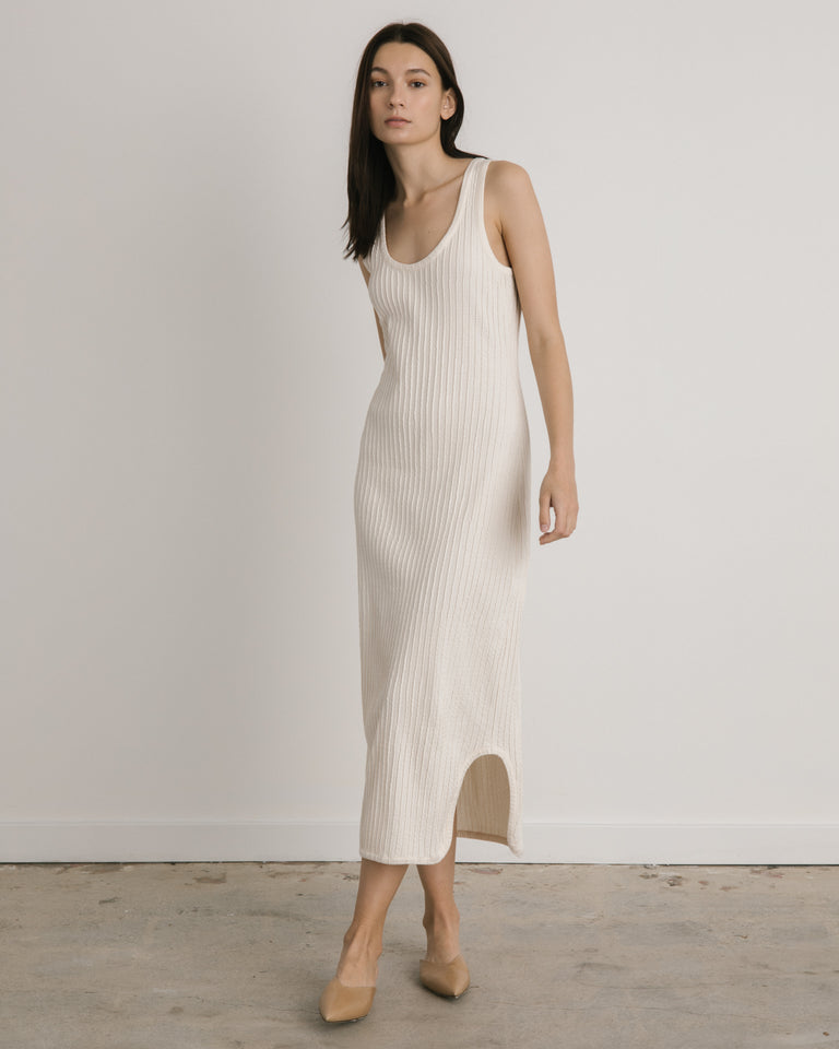 Pleated Dress in Cream