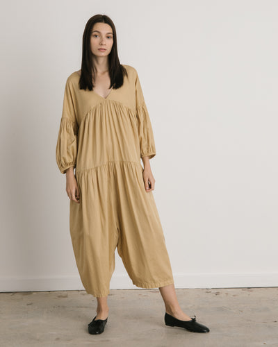 Puff Jumpsuit in Tan