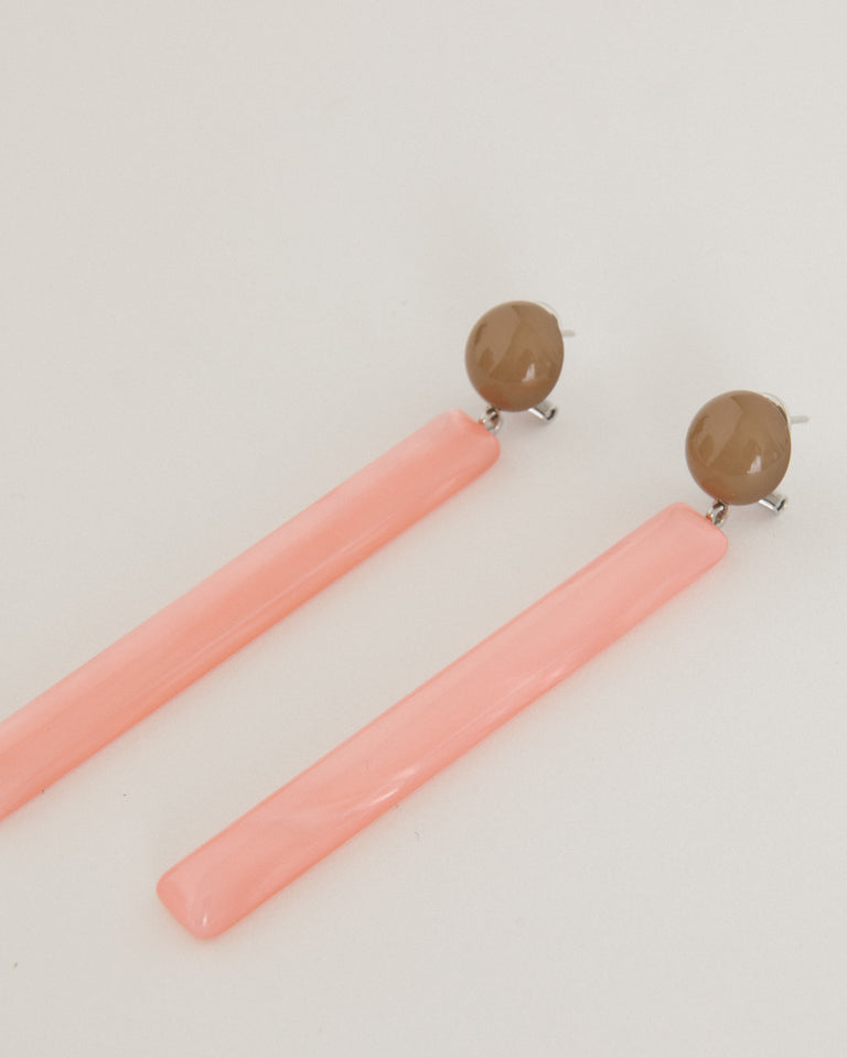 Mission Earring in Camel and Pink