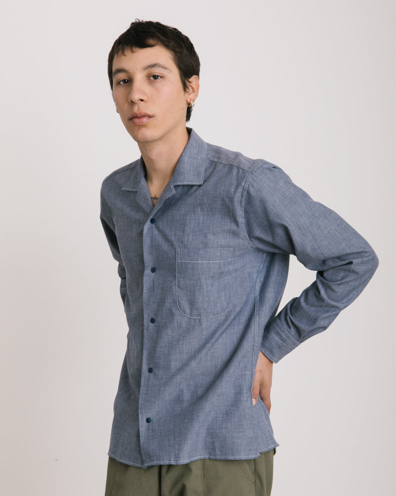 Long Sleeve Overshirt in Chambray