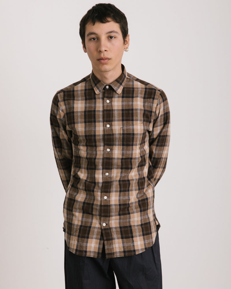 Lipp Stitch Madras Shirt in Navy and Brown