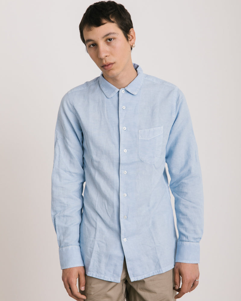 Piping Pigment Dyed Shirt in Pale Blue