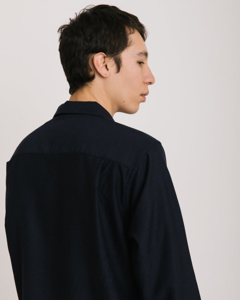 Long Sleeve Overshirt in Navy