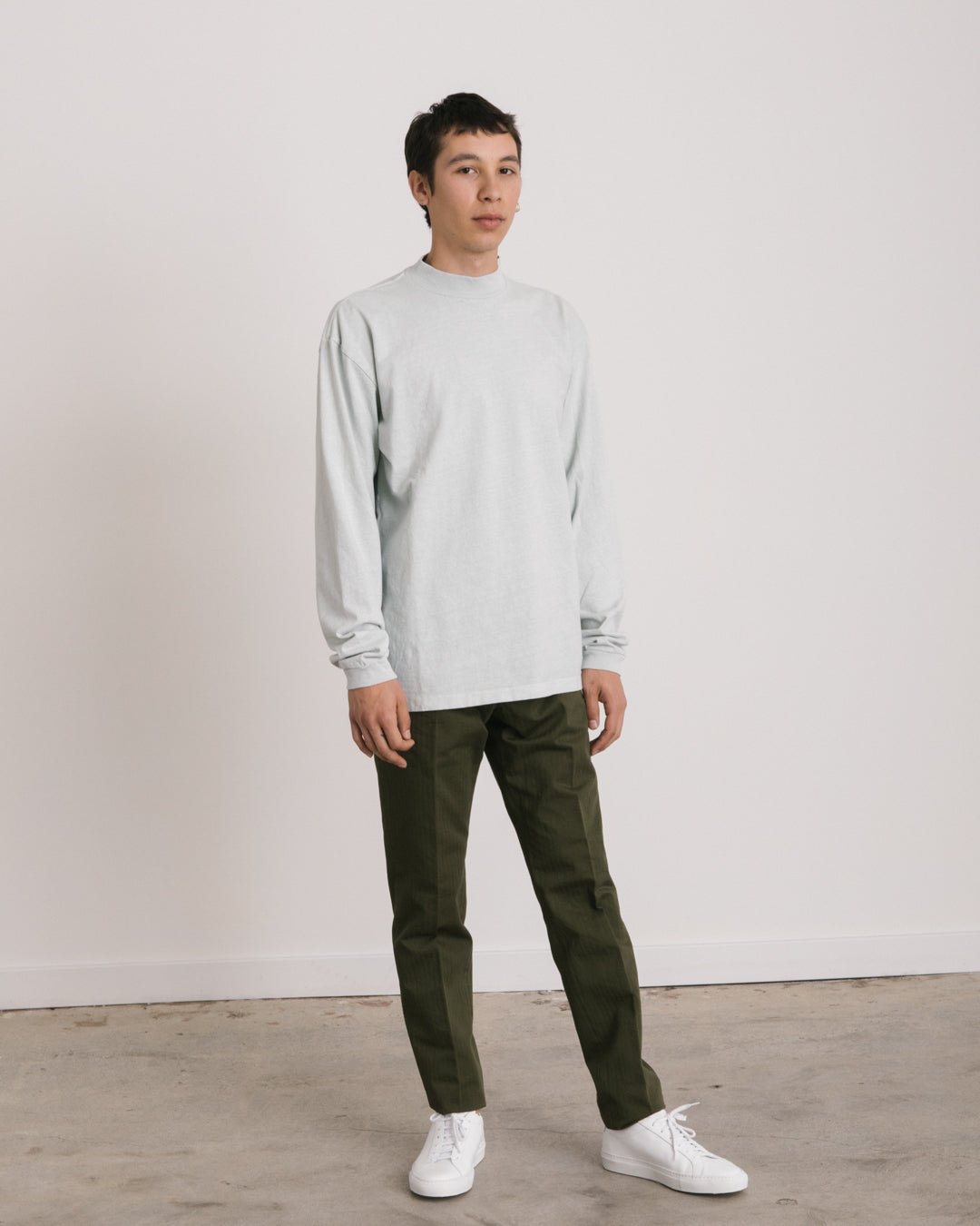 Long Sleeve Mock Tee in Glacier