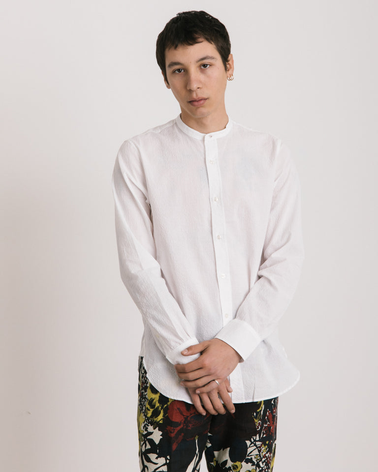 Gaspard Seersucker Shirt in White