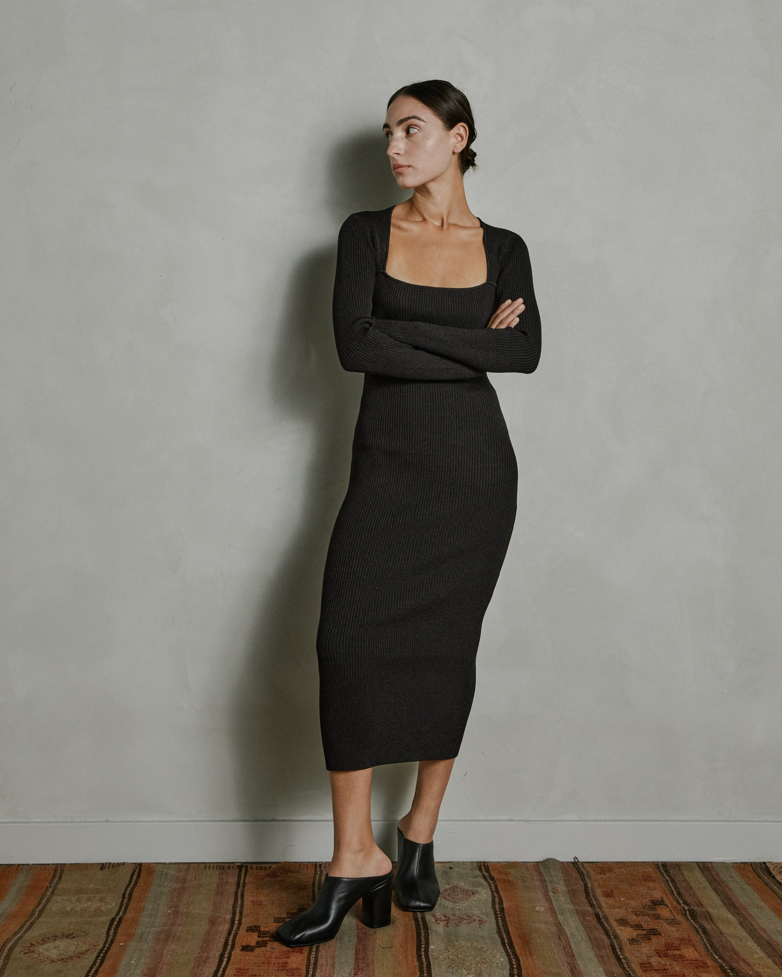 Melange Knit Dress in Chicory Coffee
