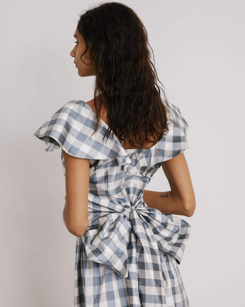 Long Bow Dress in Grey and White Check