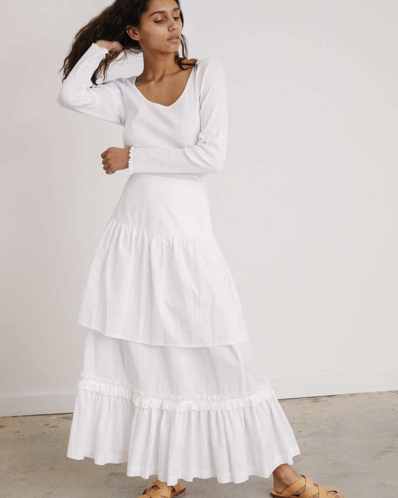 Tiered Skirt in White Jacquard