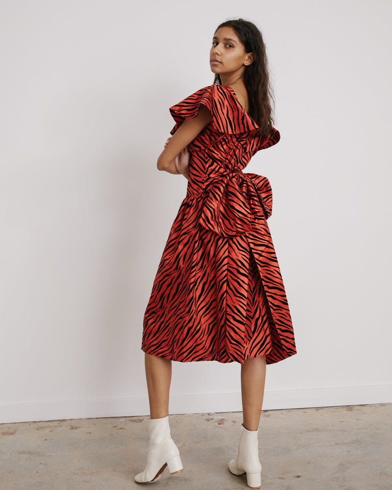 Bow Dress in Red Zebra