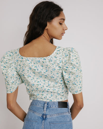 Cap Dirndl Crop in Mint Floral