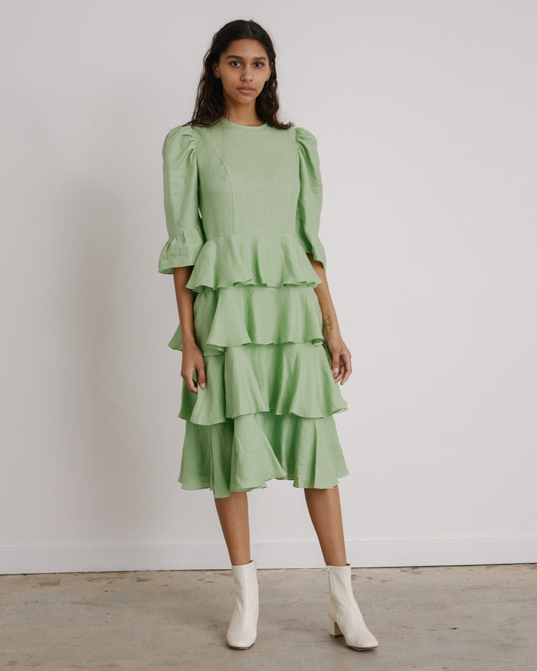 Spring Layer Dress in Mint Linen